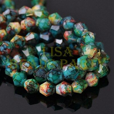 Hot 30pcs 8mm Bicone Faceted Glass Loose Spacer Colorized Beads Blue&Green