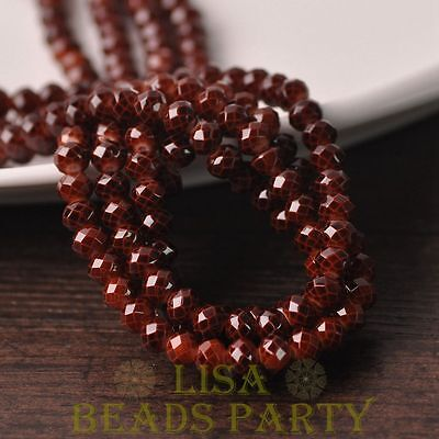 Hot 100pcs 4mm Glass With Color Coated Rondelle Faceted Loose Beads Deep Coffee
