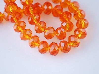 72pcs 8mm Rondelle Faceted Loose Crystal Glass Beads Jewelry Making Orange