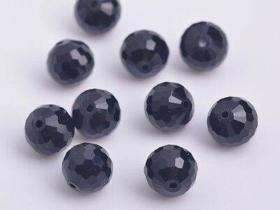 20pcs10mm 96 Faceted Round Findings Crystal Glass Charm Loose Spacer Beads Black