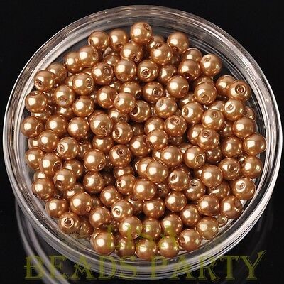 Hot 50pcs 6mm Round Glass Pearl Loose Spacer Beads Jewelry Making Gold