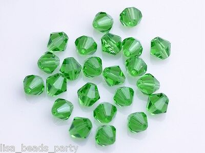 200 Wholesale 4mm Bicone Faceted Crystal Glass Loose Spacer Beads Grass Green