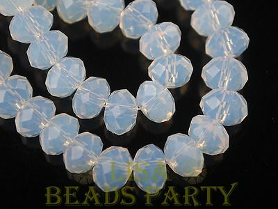 Hot 5pcs 14X10mm Big Crystal Glass Rondelle Faceted Loose Beads Opal