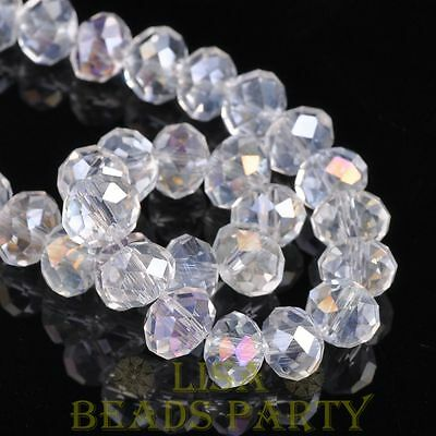 Hot 20pcs 10X7mm Crystal Glass Rondelle Faceted Loose Spacer Beads Clear AB