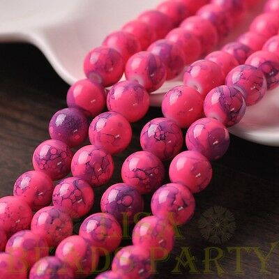 Hot 15pcs 10mm Round Charms Loose Spacer Glass Beads Jewelry Making Deep Pink