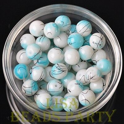 Hot 20pcs 10mm Round Loose Spacer Glass Beads Bulk Jewelry Making Lake Blue