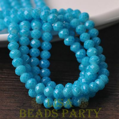 Hot 50pcs 6mm Glass With Color Coated Rondelle Faceted Loose Beads Lake Blue