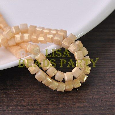 Hot 50pcs 6mm Cube Square Faceted Gold Foil Glass Loose Spacer Beads Beige