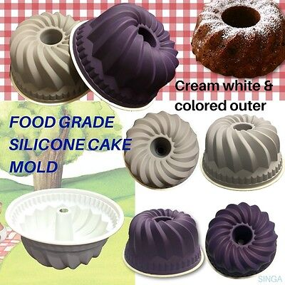 Bundt Cake Ring Swirl Bread Pastry Silicone Mold Pan Bakeware Tray Mould Useful