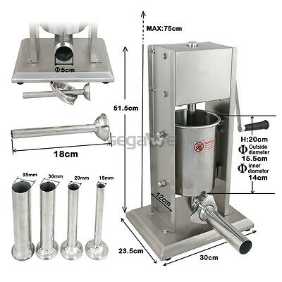 Used Commercial Sausage Stuffer 3L Stainless Steel Vertical Meat Maker Filler 4