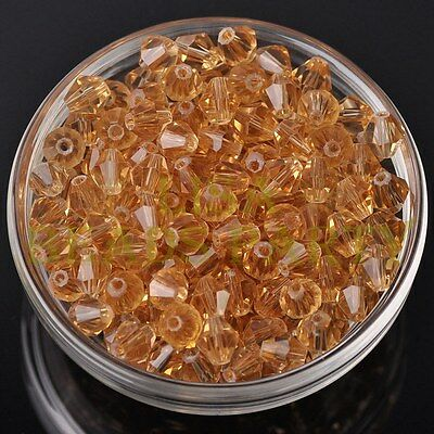 Hot 20pcs 8mm Bicone Faceted Crystal Glass Loose Spacer Beads Champagne