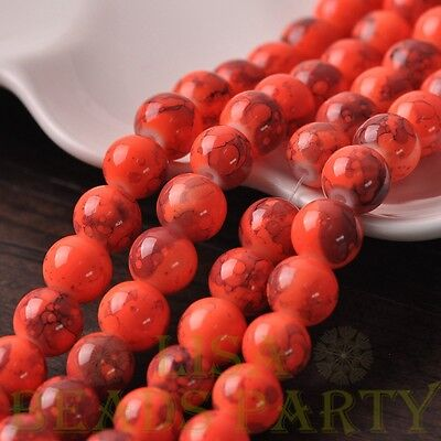 Hot 15pcs 10mm Round Charms Loose Spacer Glass Beads Jewelry Making Orange Red