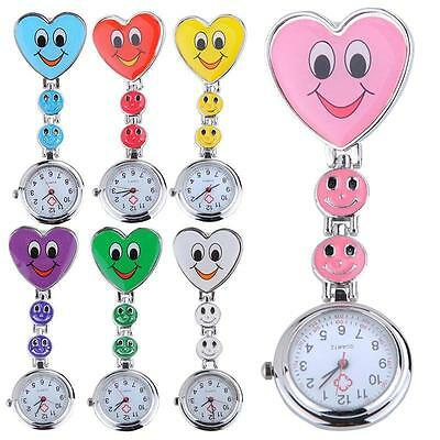 Nurse Clip-on Fob Brooch Pendant Hanging Fobwatch Smile Face Pocket Watch G0