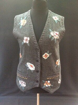 Vintage Grey Flannel Wool Mix Lined Floral Appliqué Button Up Waistcoat 16-18