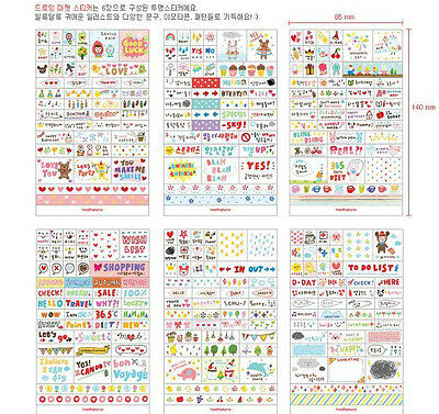 6 Sheet DIY adorn Book Wall paper Stickers Diary Scrapbook Decoration Photo Skin