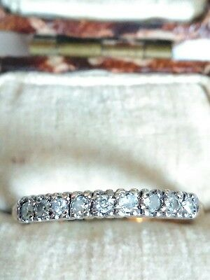 Hallmarked 9ct Gold Diamond Half Eternity Ring. Size O