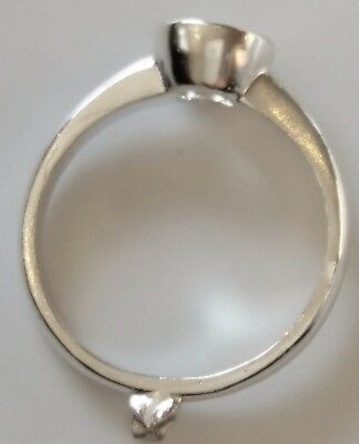 925 Sterling Silver Rubover Solitaire Cast Ring Blank Make Your Own Ring Size M