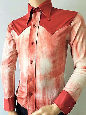 70's TIE DYED RETRO SHIRT Kmart VTG TERRACOTTA POLYESTER POINTY COLLAR SMALL
