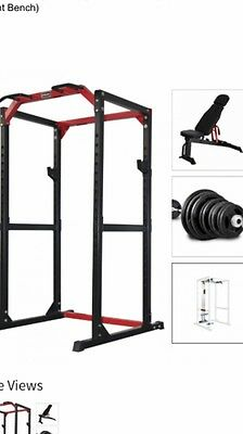 CF485 Heavy Duty Power Rack, 7ft Bar, 145kg Weights, Bench And Lat Pull