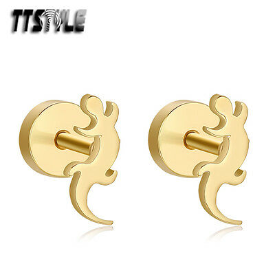 TTstyle Gold Tone Surgical Steel Gecko Fake Ear Plug Earrings Pair