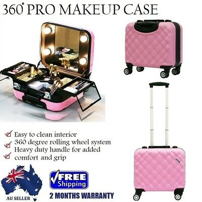 Powder Pink Professional Beauty Makeup Case Cosmetic Carry Trolley Box Light