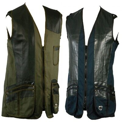 Top Gun Classic Cotton & Leather Clay Pigeon Skeet Shooting Vest Navy Medium