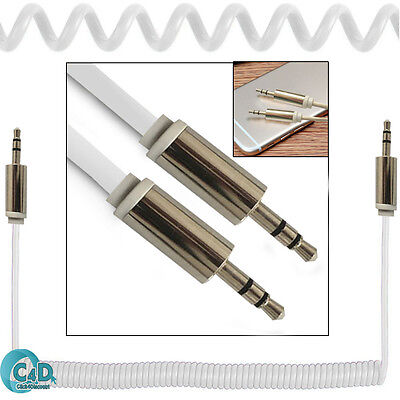 White Coiled 3.5mm AUX Cable Mini Jack Male Audio Auxiliary Lead PC Car MP3 MP4