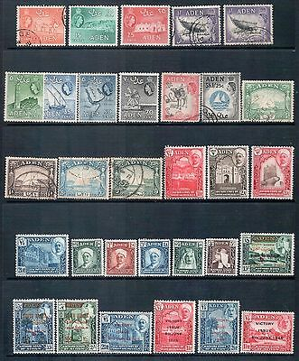 ADEN - Mixed Lot of 31 Stamps - Good Used and Mint Hinged