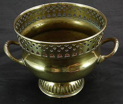 Brass Footed Plant Pot with Handles - Patterned Rim