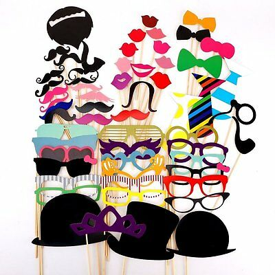 58Pcs Wedding Party Photo Booth Props On A Stick Masks Moustache Glasses Frame