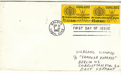 CANAL ZONE 1962 FDI 7c Malaria Pair on Cover to EAST GERMANY