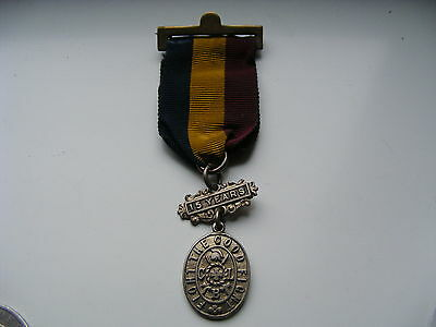 1900's Church Lads Brigade Fight Good Fight Medal Ribbon 15 Years Solid Silver
