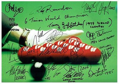 77 #  Multisigned X17 Snooker Champions  A4 Photograph Reprint~~~~~~~~~~~