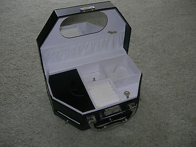BLACK FAUX LEATHER TRAVELLING JEWELLERY CASE ~ 6 Sections 3 Drawers Mirror Lock