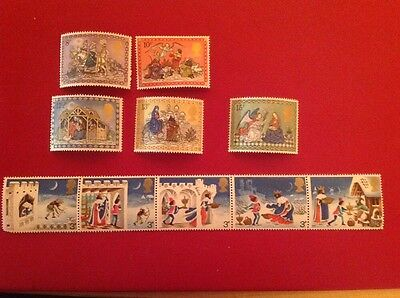 1973 and 1979 GB, Christmas, NH Mint set of stamps