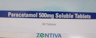 30 Soluble Paracetamol Tablets by Zentiva - 500 mg