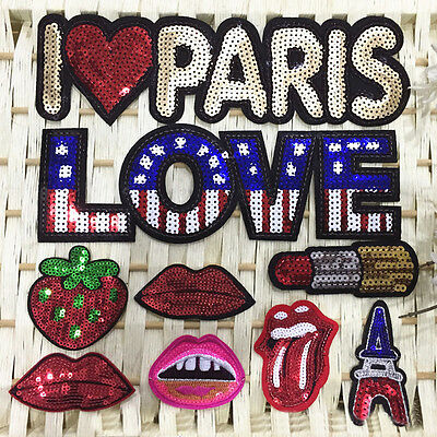 8pc Embroidered Sew Iron on Patch Cloth Badge Letter Red Lip Sequin Bag Applique