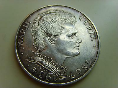 1984 France Silver 100 Francs Death Of Marie Curie French Coin