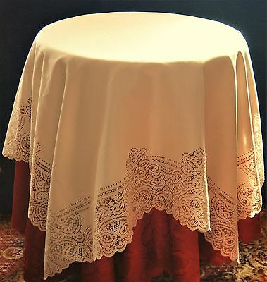 "VICTORIA SQUARE CREAM LACE TABLE CLOTH WITH CUT OUT EDGE 47x47"" (120cm x cm120)"