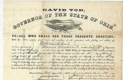 1/15/1863 2nd Lt Wm A Ward Civil War Appt Cert 95th OVI Signed Oh Gov David Tod