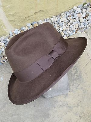 1940s Style Brown 100% Wool Fedora Large Trilby Revival Hat size XL