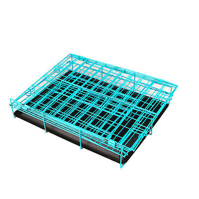 2 Door Pet Dog Metal Collapsible Cage Crate Kennel with Plastic Tray Black