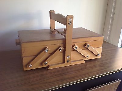 ORIGINAL VINTAGE SEWING BOX WOODEN TIERED 1950's