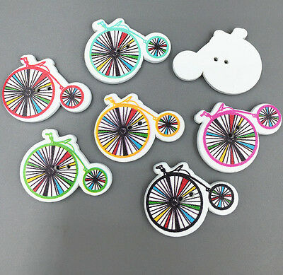 25X Wooden Buttons Fit Sewing scrapbooking Bicycle Wheel shape decoration 30mm