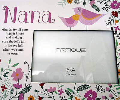 """Floral Photo Frame """"nana Thanks For Your Hugs & Kisses.."""" Mother's Day Gift Bnib"""