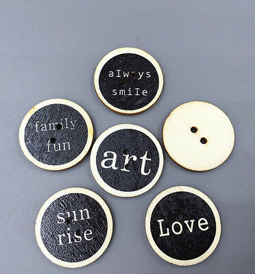 25X  Retro Wooden Round Sewing Buttons scrapbooking crafts decorative 25mm