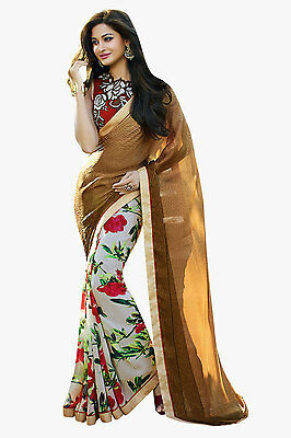 Bollywood Saree Party Wear Indian Ethnic Pakistani Designer Sari Green Orange