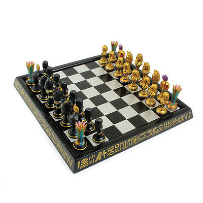 Exclusive Design: Egypt Chess Board Game| Black Gold Chess Set Pieces(Polyresin)