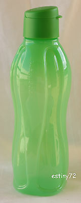 Tupperware 1L Large H2O Eco Water Drink Bottle With Fliptop Cap Green New
