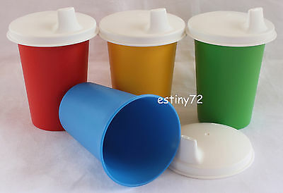 Tupperware Kids Bell Tumblers Set With Domed Sipper Seals (4) Red Blue Green New